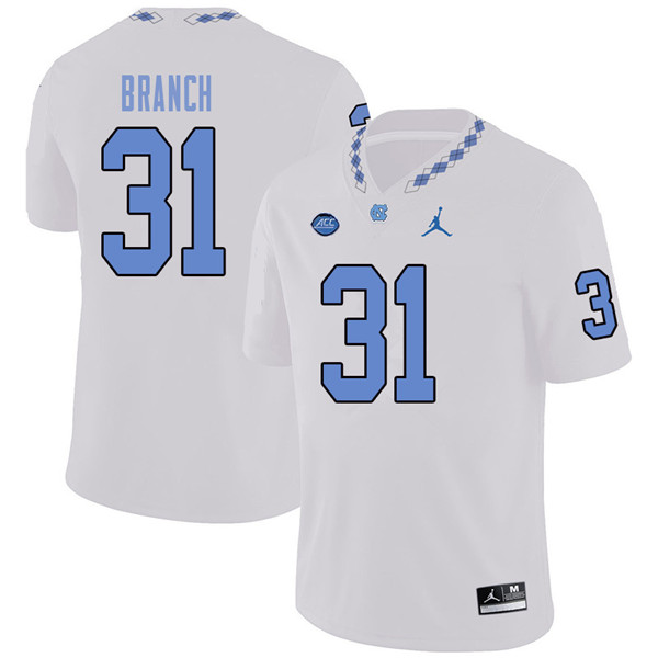 Jordan Brand Men #31 Antwuan Branch North Carolina Tar Heels College Football Jerseys Sale-White