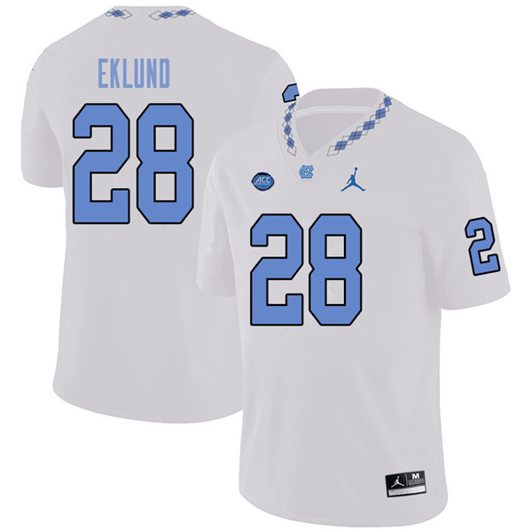 Jordan Brand Men #28 Graham Eklund North Carolina Tar Heels College Football Jerseys Sale-White