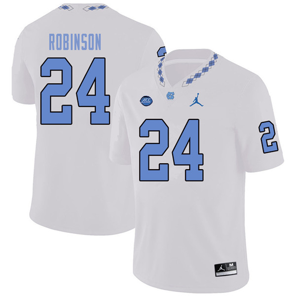 Jordan Brand Men #24 Malik Robinson North Carolina Tar Heels College Football Jerseys Sale-White