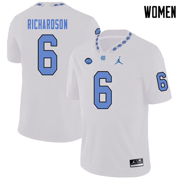 Jordan Brand Women #6 Bryson Richardson North Carolina Tar Heels College Football Jerseys Sale-White